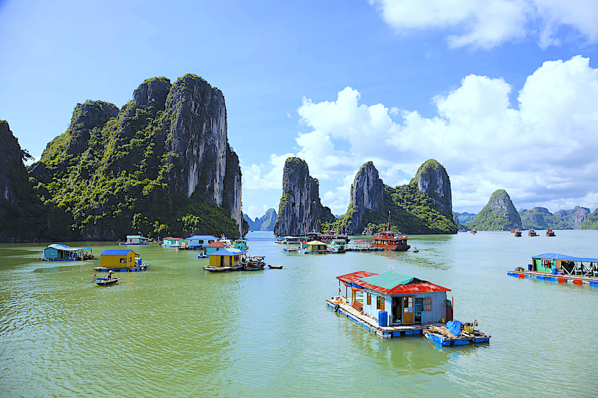 Visit Ha Long Bay and its 700 isles by junk boat tour or sea kayak